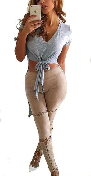 Sexy Leggings Unicas Con Cordones Cintura Media Importadas!!