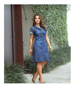 Vestido Jeans Médio Com Botões Moda Feminina Evangélica