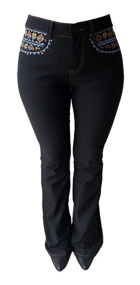Calça Jeans Feminina Preta Flare Minuty Bordado 201845