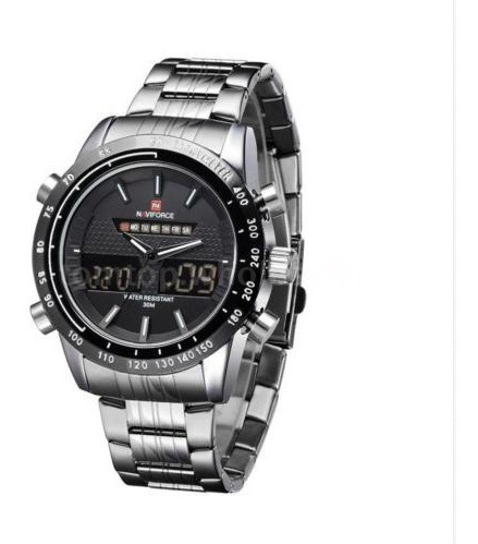 Relógio Pulso Masculino Naviforce Inox Preto 450