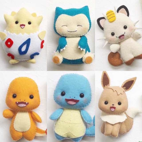 Boneca De Feltro Pokémon - Kit Com 6 Unidades