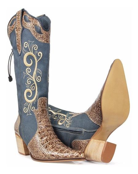 Bota Texana Feminina Country Jeans Amarração Couro Legítimo