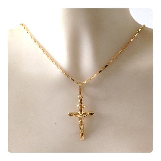 Corrente De 60 Cm Com Pingente Crucifixo De 2.5 Cm Ouro 18k