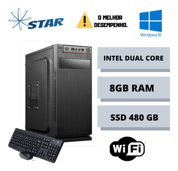 Cpu Star Dual Core 8gb Ssd 480gb Win10 - Promoção - Nova
