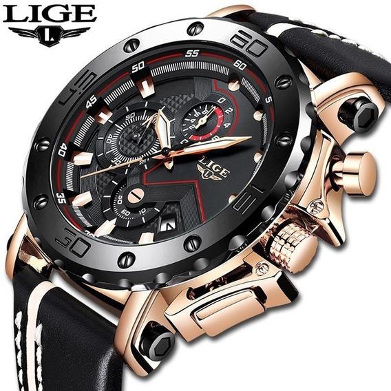 Relógio Masculino Original Lige Esportivo Luxo C/ Caixa