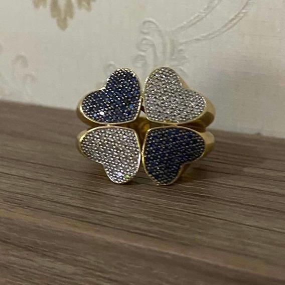 Luxuoso Anel Em Ouro Com Pedras Preciosas