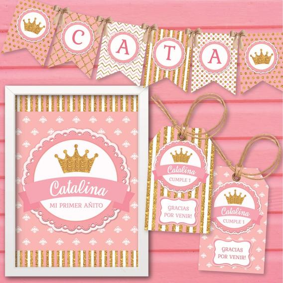 Kit Imprimible Coronita Corona Dorado Rosa Cumpleaños Candy