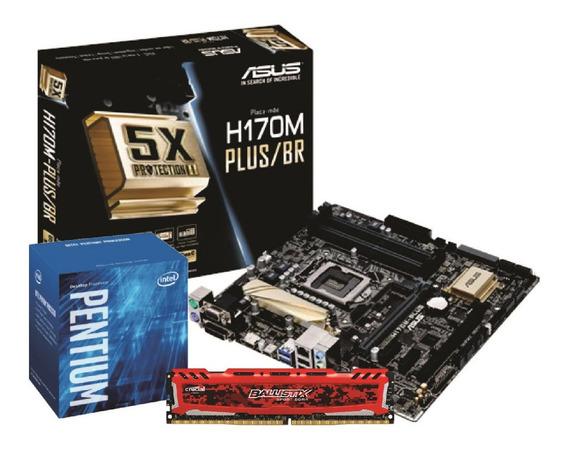 Kit Intel Pentium G4560 Asus H170m Plus 8gb Bls 2400mhz Nfe
