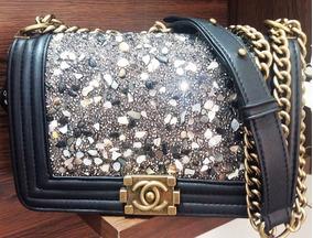 Bolsa Feminina Chanel Le Boy Com Brilho