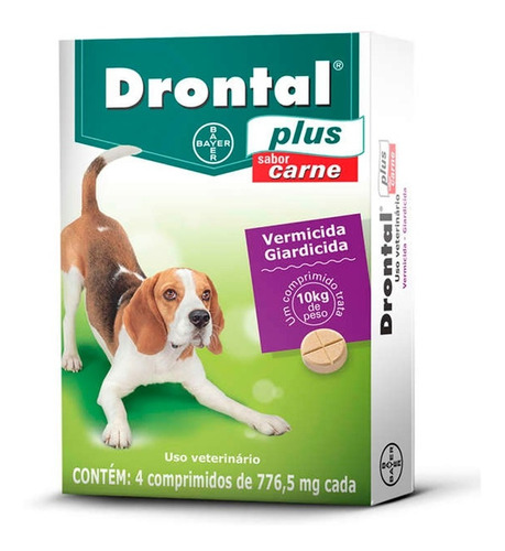Vermífugo Bayer Drontal Plus Carne - Cães 10 Kg 4 Comp.