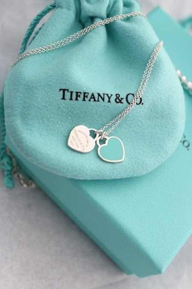 Colar Double Heart Green Mini Tiffa Ny Com Caixa