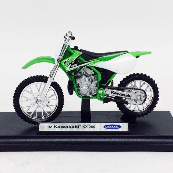 Miniatura Moto Kawasaki Kx 250 Moto Cross Escala 1:18