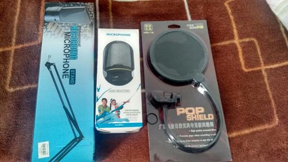 Kit Microfone Condensador/ Pop / Braço Extensor Frete Grátis