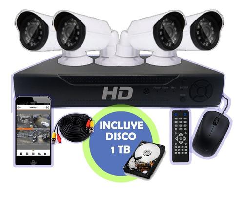 Kit Seguridad Dvr Full Hd 4 Camaras Hd Exterior + Disco 1tb