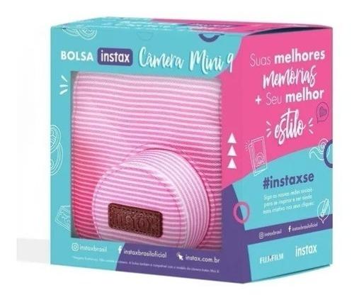 Bolsa De Tecido Rosa Listrada Para Camera Instax Mini 9