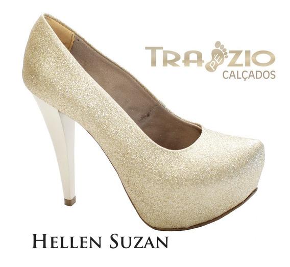 Sapato Meia Pata Gliter Glamour Salto 12 Hellen Suzan
