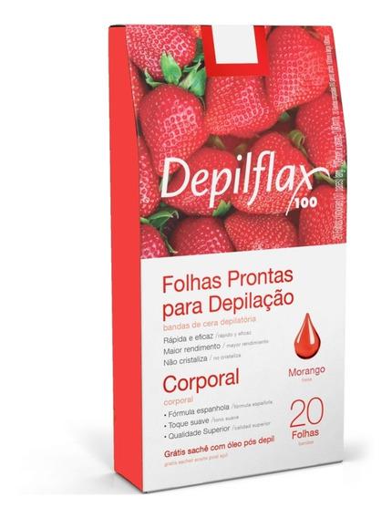Depilflax Folhas Prontas P/ Depilação Corporal Morango C/20
