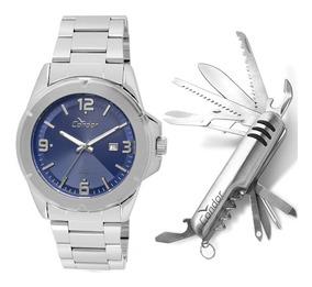 Relógio Condor Masculino Prata Co2115xe/k3a + Canivete