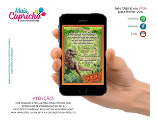 Convite Dinossauro Arte Digital Para Whatsapp
