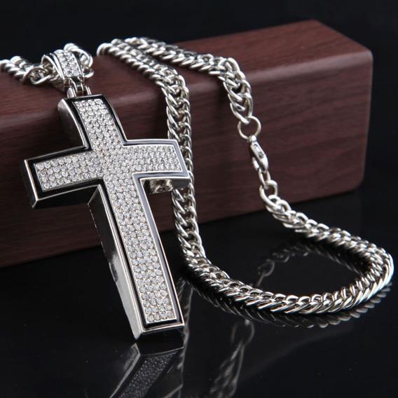 Colar Masculino Cruz Crucifixo Hip Hop Pedra Comprida C206