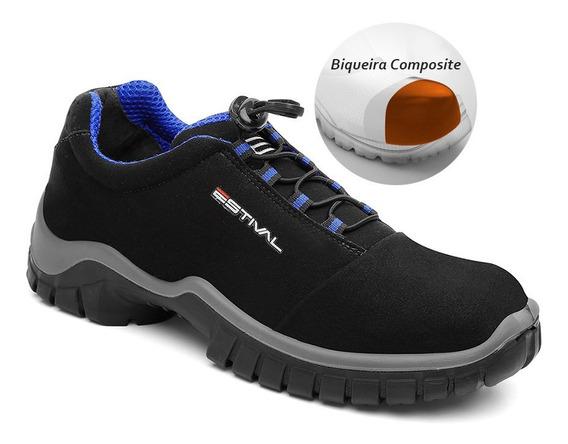 Sapato Microfibra Preto Bico Composite Estival Ca 42554