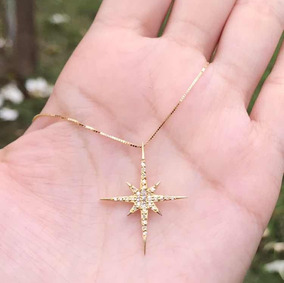 Corrente Ouro Feminina + Pingente Estrela Com Diamante