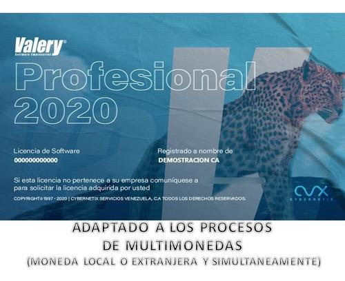 Imagen 1 de 6 de Actualizacion Valery® Profesional 2020 - Legal - Multimoneda