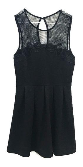 Vestido Nuevo!!! Forever 21 Negro Con Red Y Guipure Talle M