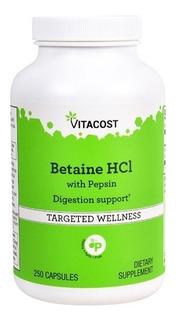 Betaína Hcl 650 Mg +162mg De Pepsina 250 Cápsulas Importado