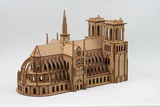 Rompecabezas 3d Catedral Notre Dame Fibrofacil Mdf Maqueta