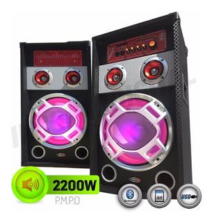 Par De Bafle Potenciado Bluetooth-usb-mic-karaoke
