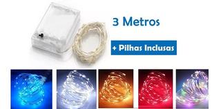 Kit 20 Fio Fada Cordão Luz Cores Natal 3mts 30 Leds+ Pilhas