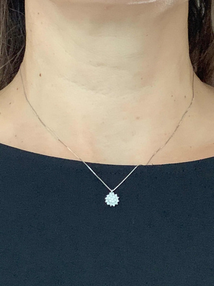 Colar C/pingente Ouro 18k,-1.8-gr. 43cm, C/diamantes
