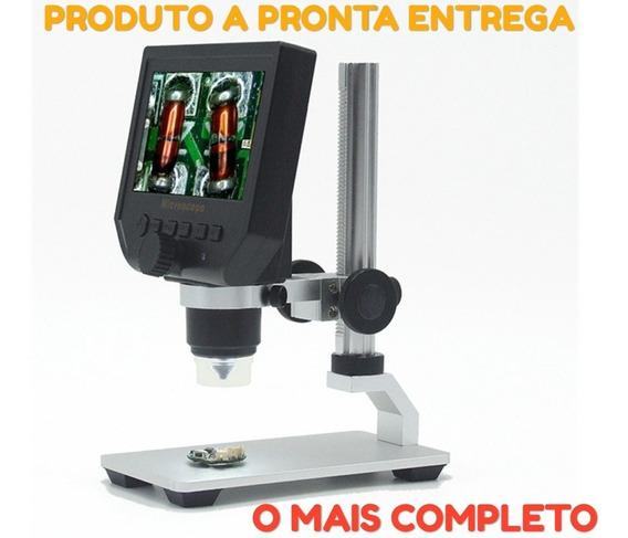 Microscópio G600 Lcd 4.3 Full Hd Digital 600x Tela Português