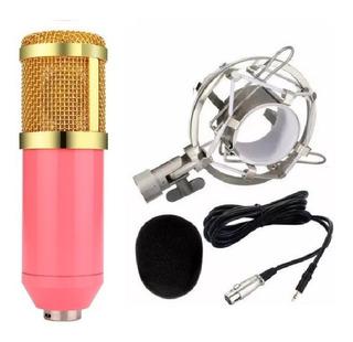 Microfone Condensador Profissional Bm800 Envio Imediato Rosa