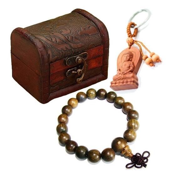 Caixinha Bau De Madeira + Pulseira Budista + Chaveiro Buda