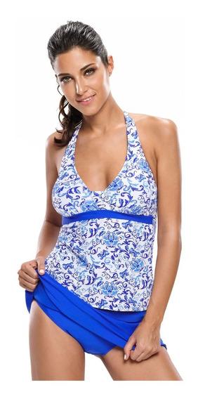 Traje De Baño Tankini C/falda Halter Floral Azul 2 Piezas