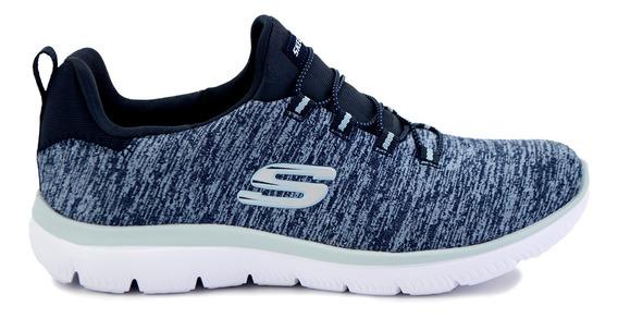 Tenis Skechers Para Dama 12983 Azul Marino [ske222]