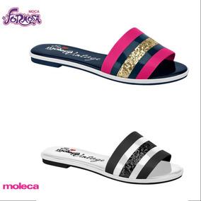 Chinelo Moleca Slide Verniz Pink/marinho E Preto/b 5433.100