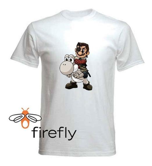 Remera Mario Bross Hombre Blanca Coleccion 4 Firefly