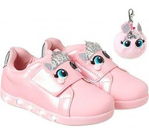 Tenis Infantil Pampili Sneaker Luz Princess Dot Rosa 27/28b