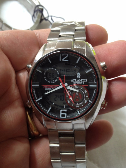 Relógio Atlantis Original Black Red Aviator Dual Time