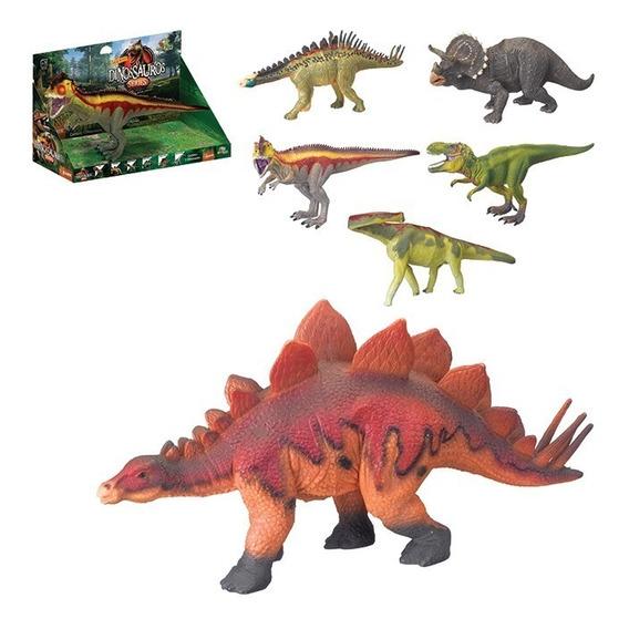 Dinossauros Plásticos Kit Com 6 Unidades T-rex Estegossauro