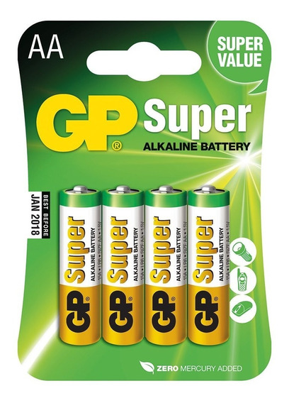 Pilha Super Alkaline Gp Aa 1.5v Blister Com 4 Unidades
