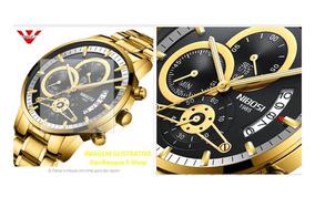 Relógio Nibosi Dourado Pré Venda Ler Anúncio Frete Grátis