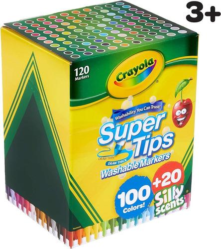 Imagen 1 de 4 de Crayola Super Tips 120 Marcadores Lavables 100+20 Silly Scen