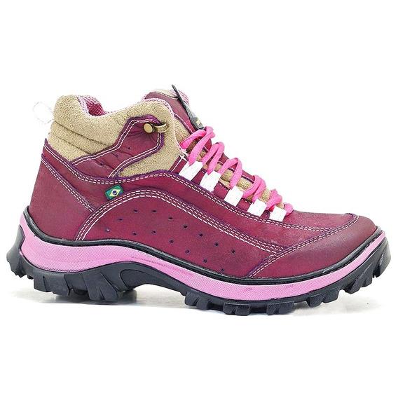 Bota Robusta Rosa Adventure Feminina Para Trilha Couro Pink