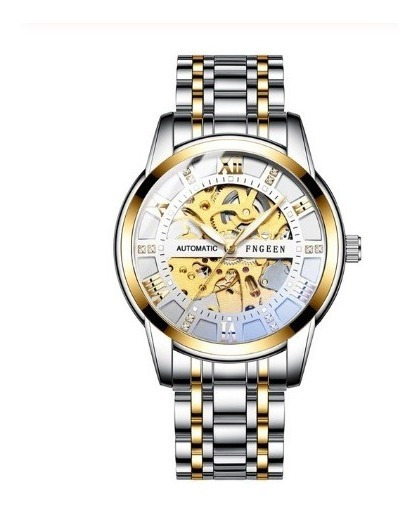 Relógio Tevise Automático Mecânico 9005 Prata Branco Dourado