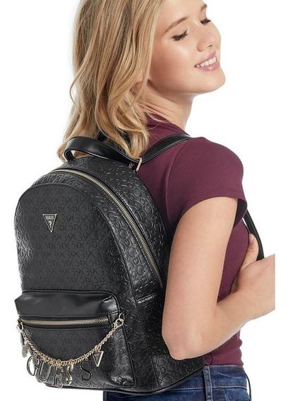 Mochila Guess Original Negra Cadena Grande Bolsa Backpack