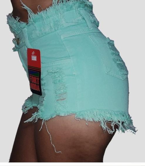 Kit 3 Shorts Jeans Feminino Destroyed Cintura Alta Hot Pants